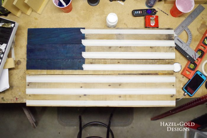 DIY Rustic Pallet Wood Flag - prepping to paint the stripes
