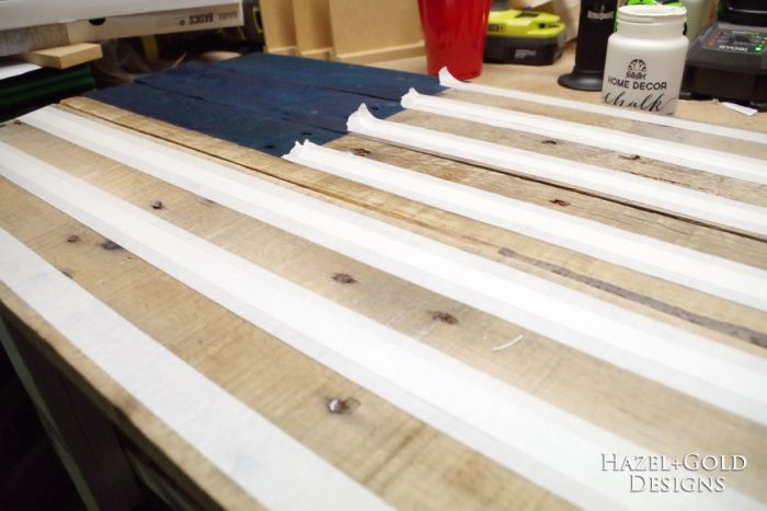 DIY Rustic Pallet Wood Flag - prepping to paint the white stripes