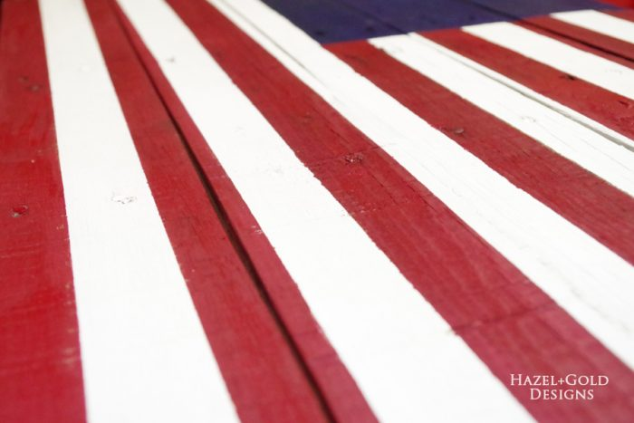 DIY Rustic Pallet Wood Flag - stripes closeup
