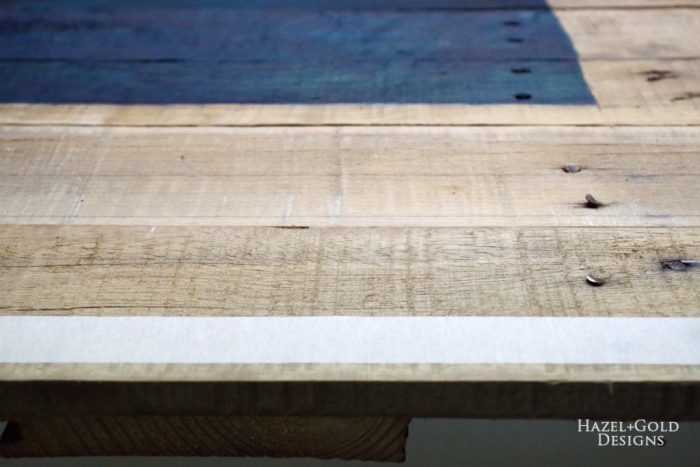 DIY Rustic Pallet Wood Flag - use tape to mark off 13 lines