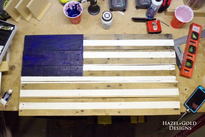 DIY Rustic Pallet Wood Flag - white stripes finished