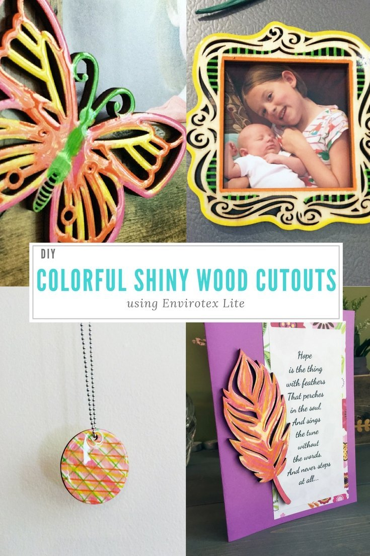 Colorful Shiny Wood Cutouts Tutorial - wood crafts, resin crafts, resin crafting, envirotex lite, diy crafts, epoxy resin, shiny shapes, colorful shapes, paper crafting, jewelry crafting, picture frame crafting