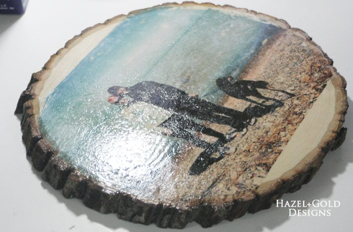 Glossy Wood Slice Photo Transfer - spray on Resin Spray
