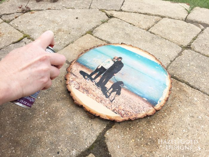 Glossy Wood Slice Photo Transfer - spraying resin spray