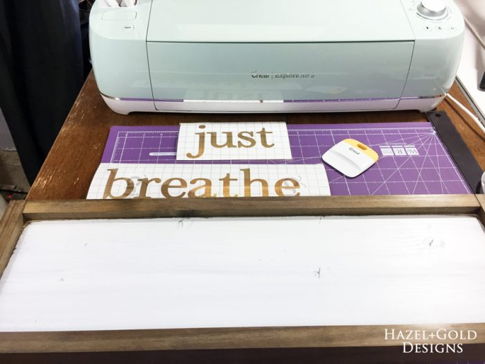 Just Breathe Sign - pieces ready to apply vinyl900