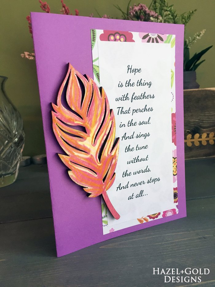 Shiny Wood Cutouts - Finished Feather Card1
