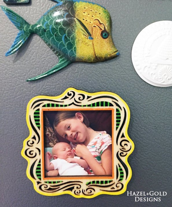 Shiny Wood Cutouts - Magnet Picture Frame1