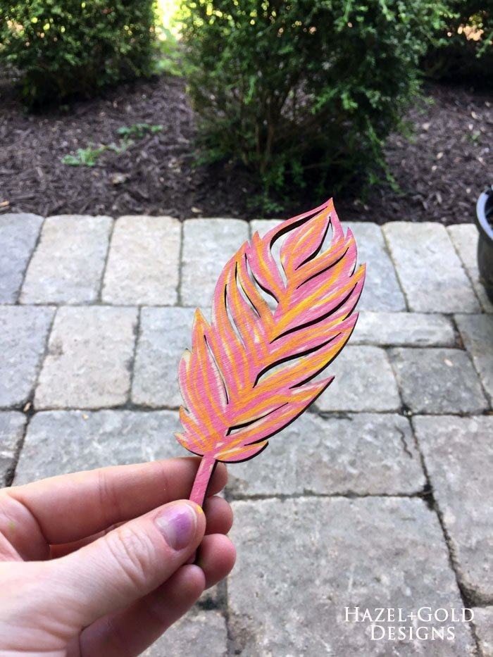 Shiny Wood Cutouts - colored feather
