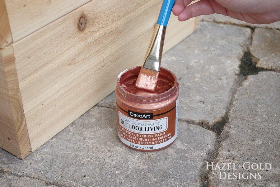 Copper and White Cedar Planters - DecoArt Exterior Paint copper