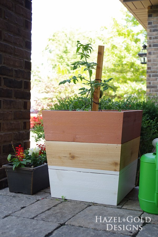 Copper and White Cedar Planters painted with DecoArt Americana Decor Outdoor Living paints
