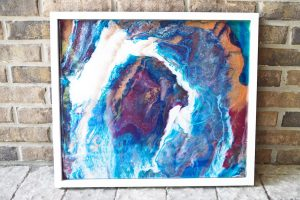 Poured Resin Wall Art completed brick background