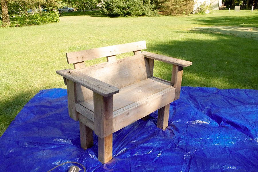 Refinish Outdoor Furniture - bench BEFORE