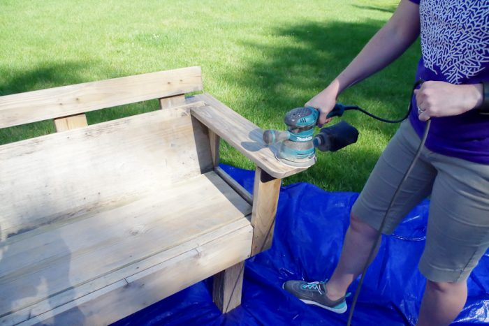 Refinish Outdoor Furniture - Bench before - sanding