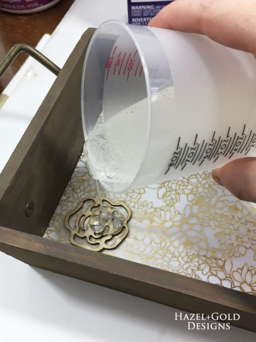 Wood and Resin Tray - Pouring resin
