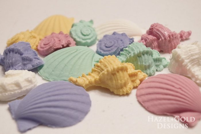 Hazel and Gold Designs making seashell wall art with FastCast resin - Make multiple colors of your casting!