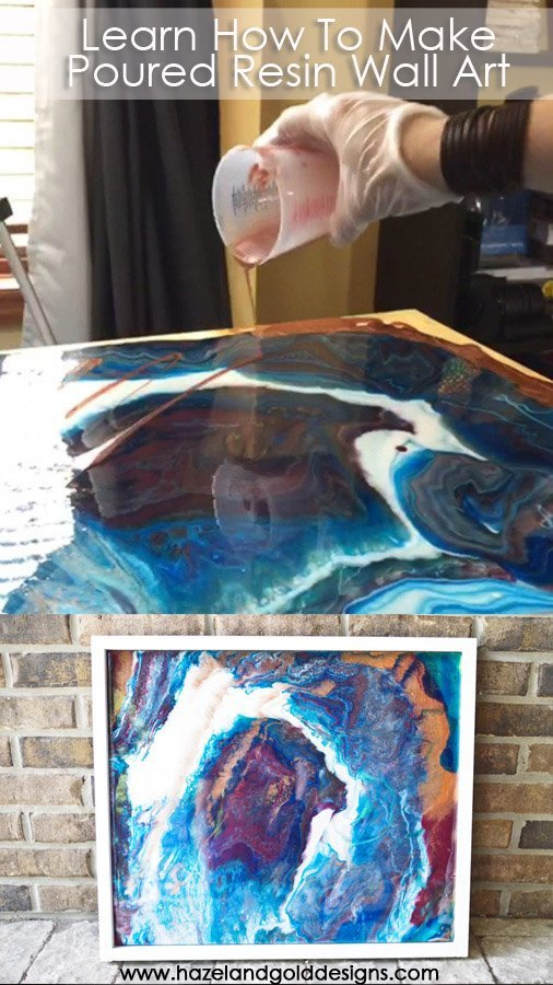 Learn how I made this amazing poured resin wall art using Envirotex Lite and a wooden board.  Full tutorial, and even a video to show you how to make one!