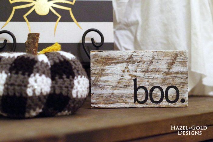 mini boo halloween sign - final photo
