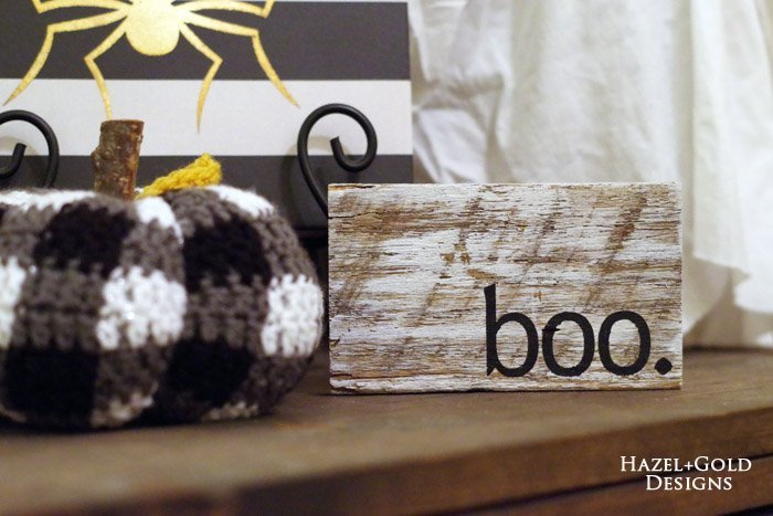 mini boo halloween sign - final photo