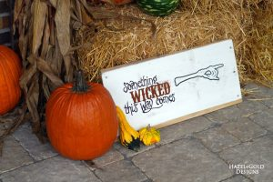 "DIY Reclaimed Wood ""Something Wicked This Way Comes"" Halloween Sign Tutorial"