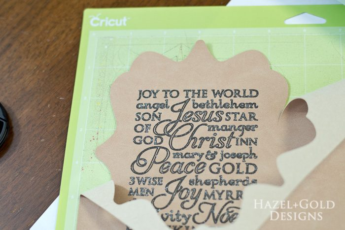 Cricut subway art suede christmas ornament - peel off excess suede