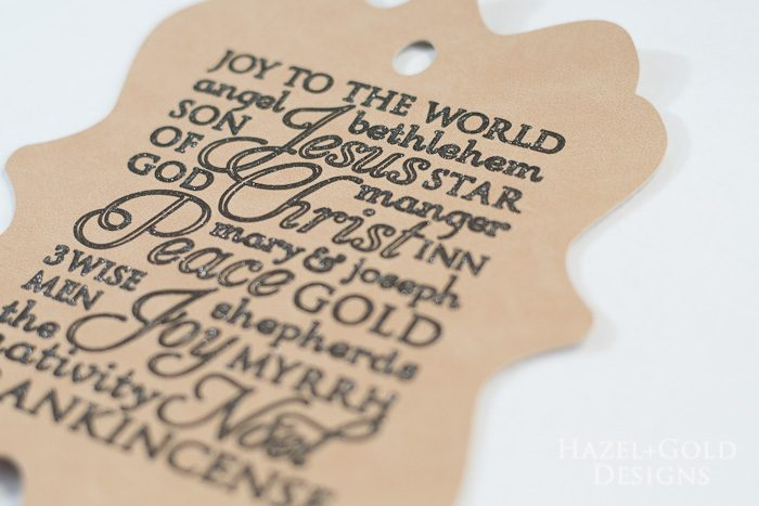 Cricut subway art suede christmas ornament - writing looks perfect