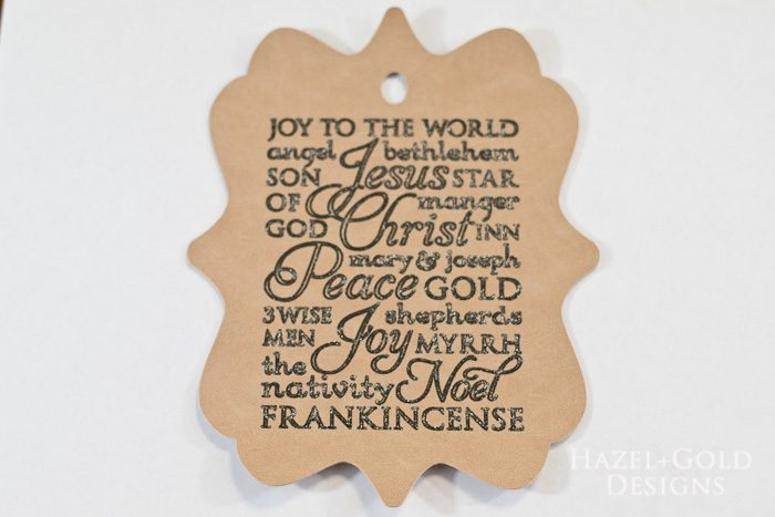 Cricut subway art suede christmas ornament - closeup