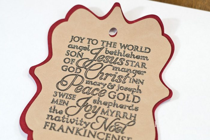 Cricut subway art suede christmas ornament - Glue two sections together with fabri-tac