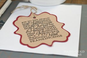 Cricut subway art suede christmas ornament - add twine