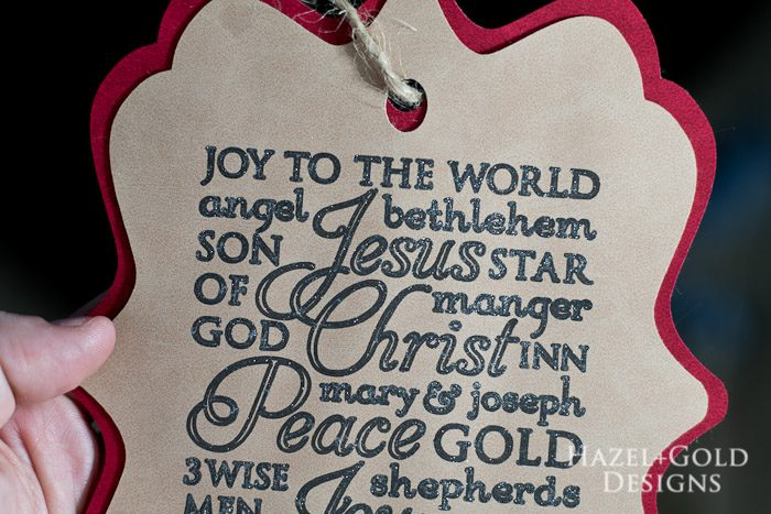 Cricut subway art suede christmas ornament - glittery