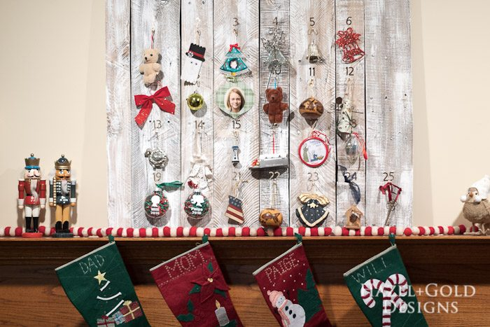 Customizable Wooden Advent Calendar- family memory ornaments