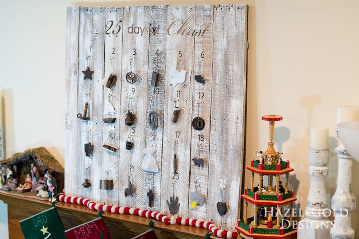 Customizable Wooden Advent Calendar- final shot of 25 days of christ on customizable wooden advent calendar