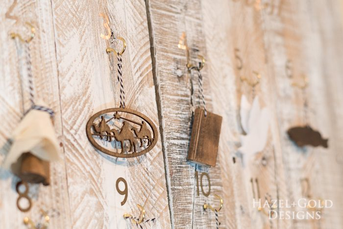 Customizable Wooden Advent Calendar- closeup of ornaments