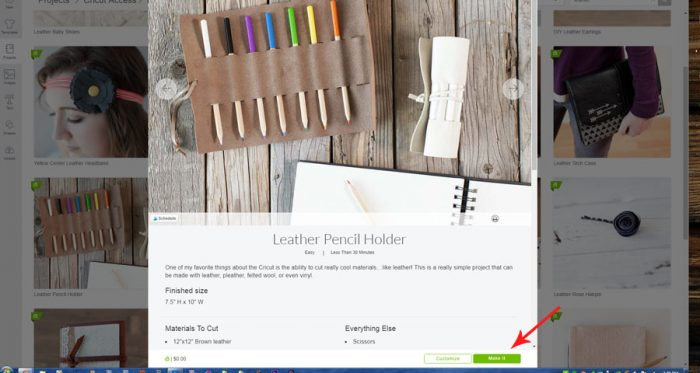 choose leather pencil holder project from Project Library