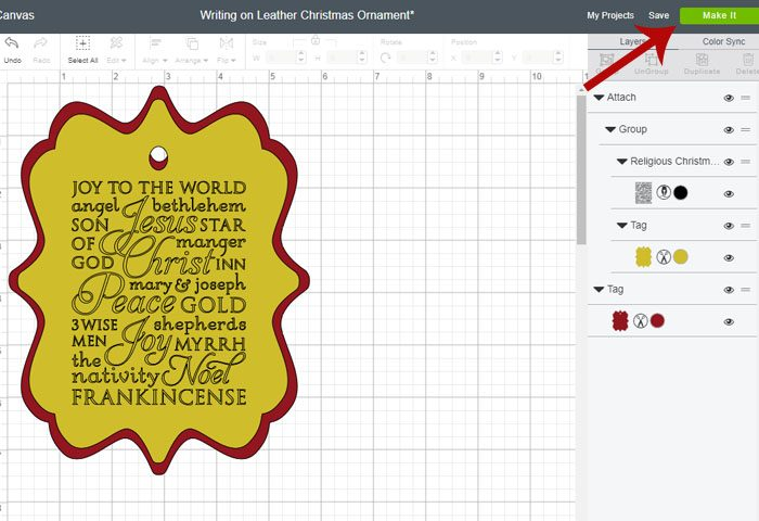 Cricut subway art suede christmas ornament - click on make it when ready