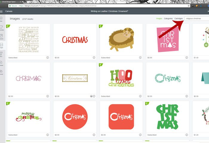 Cricut subway art suede christmas ornament - type in religious christmas