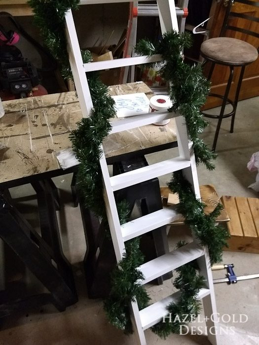 DIY Decorative Ladder- add some garland for Christmas