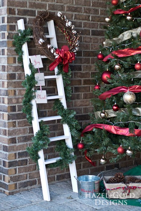 DIY Decorative Ladder- all staged for Christmas