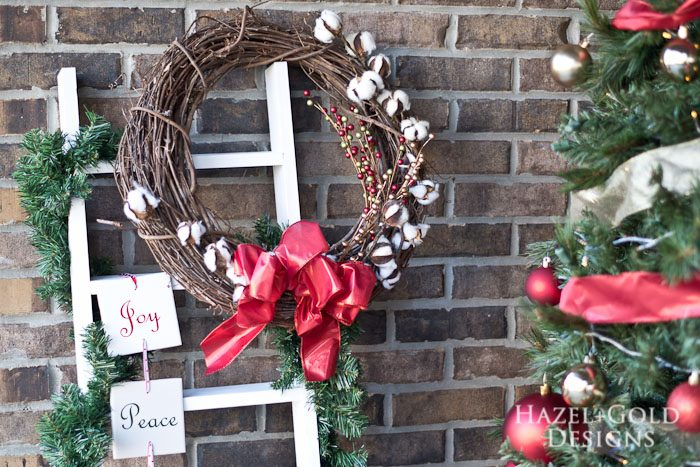 DIY Decorative Ladder - add a wreath