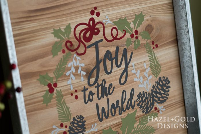 DIY Joy to the World Wooden Sign- finished photo closeup1