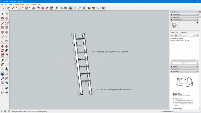 sketchup of DIY wooden decorative ladder