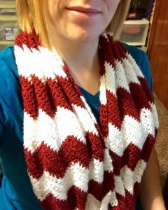 Hazel + Gold Designs - crochet chevron red and white infinity scarf