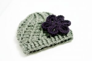 Hazel + Gold Designs - crochet baby gray and purple hat