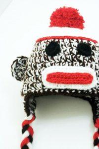 Hazel + Gold Designs - crochet baby sock monkey hat