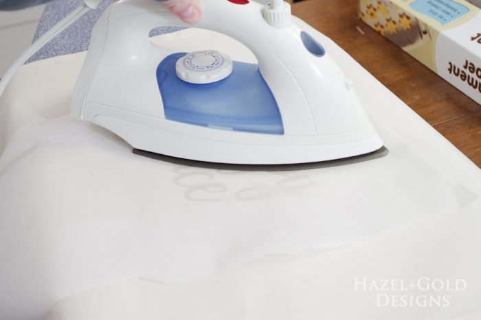 Our Happy Place Pillow- cover with parchment paper and iron for 15 more seconds