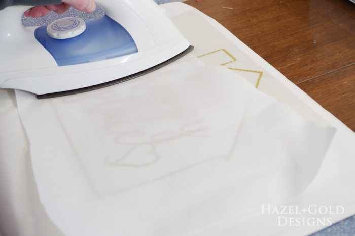 Our Happy Place Pillow- iron for 15 seconds more with parchment paper on