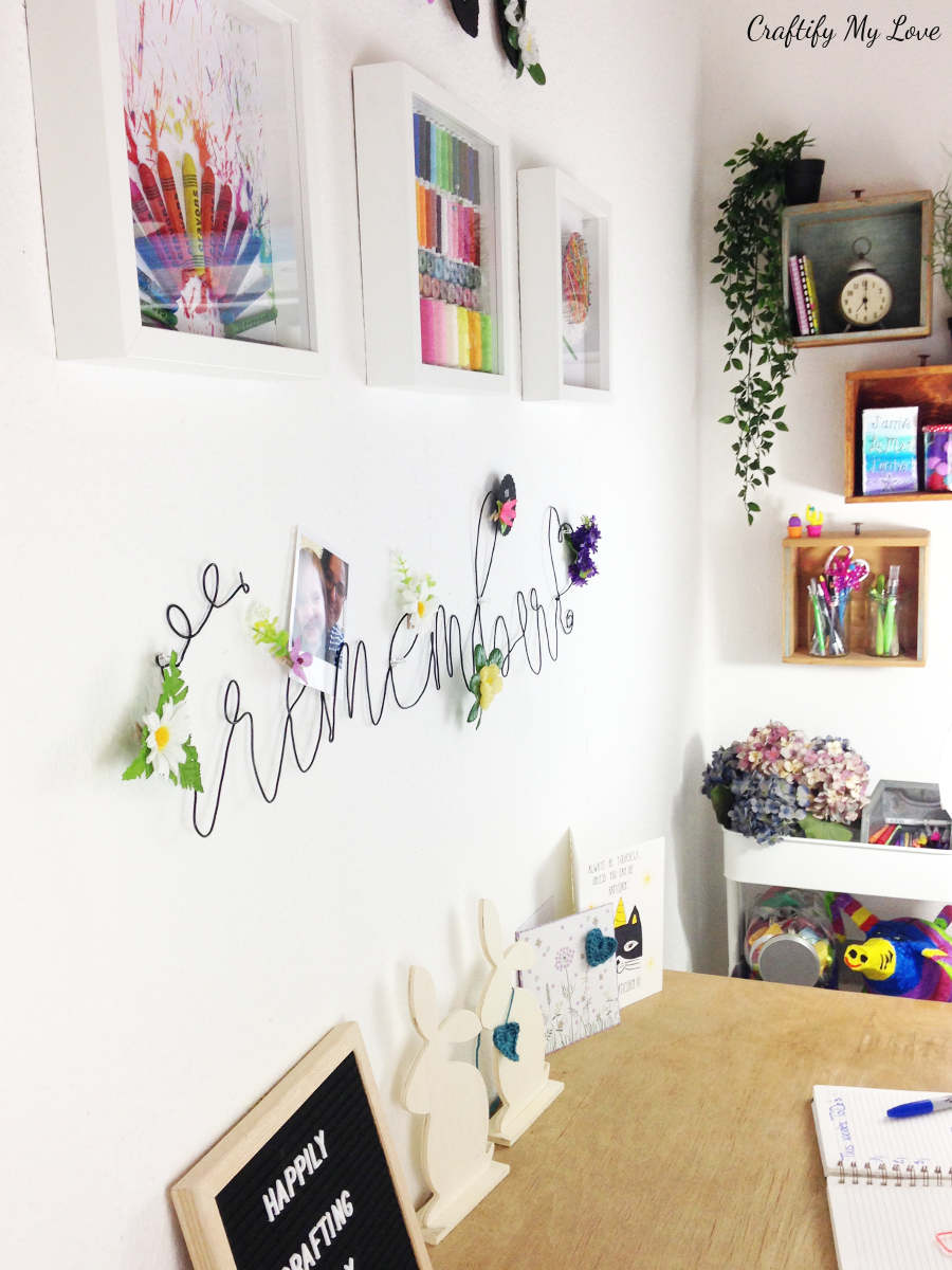 DIY craft room wall art: Bent wire memo board, crafting inspired shadow boxes and shelves from old drawers