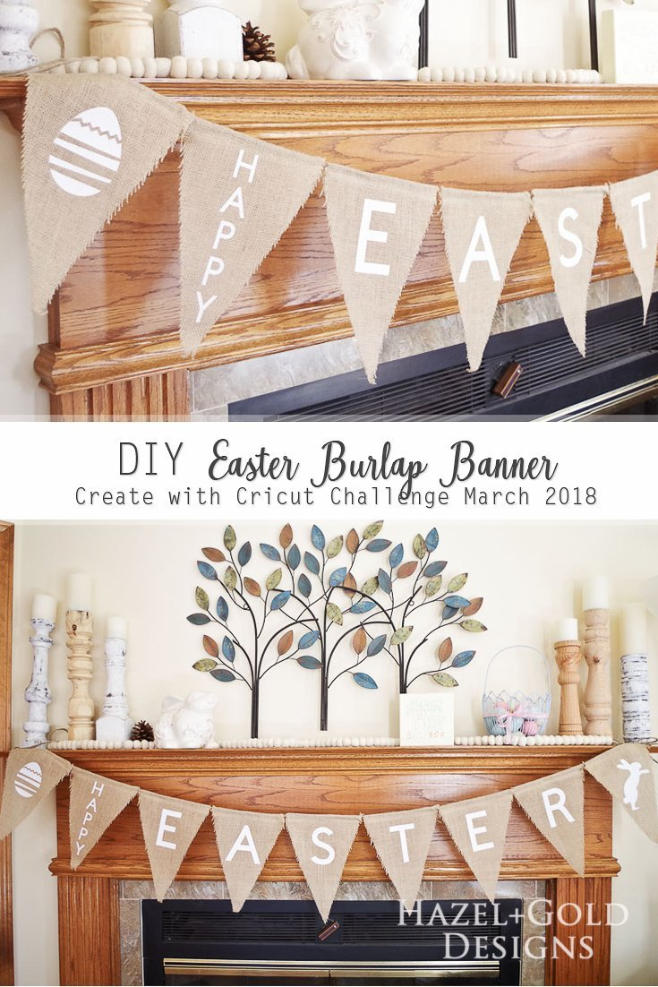 DIY Easter Burlap Banner - Check out how I customized this awesome burlap banner for Easter. Full tips on using Cricut design space and iron-on vinyl. This is a quick and easy Cricut project! #cricutmade #burlap #homedecor #diyhomedecor #diyburlap #burlapbanner #easterbanner #happyeaster #easterdecor #diyeaster