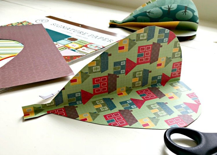 One full scrapbook DIY paper hot air balloon cut out.