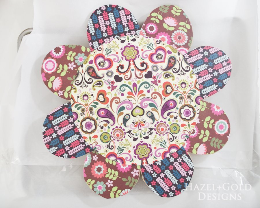 Resin Coated Wooden Flower Artwork- let decoupage dry