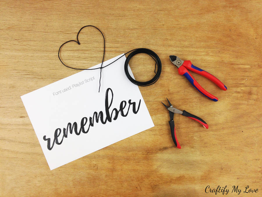 supplies you'll need for DIY memory board from wire letters